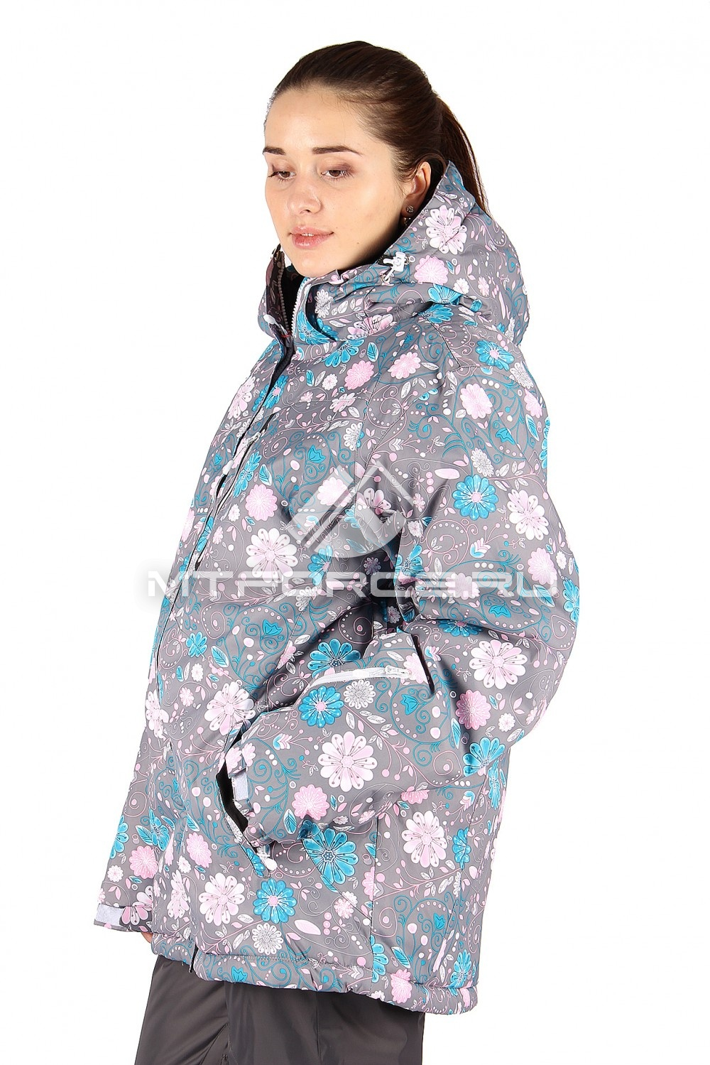 Купить                                  оптом Куртка горнолыжная женская большого размера серого цвета 14111Sr