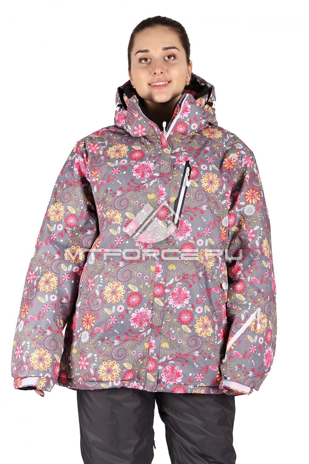 Купить                                  оптом Куртка горнолыжная женская большого размера розового цвета 14111R