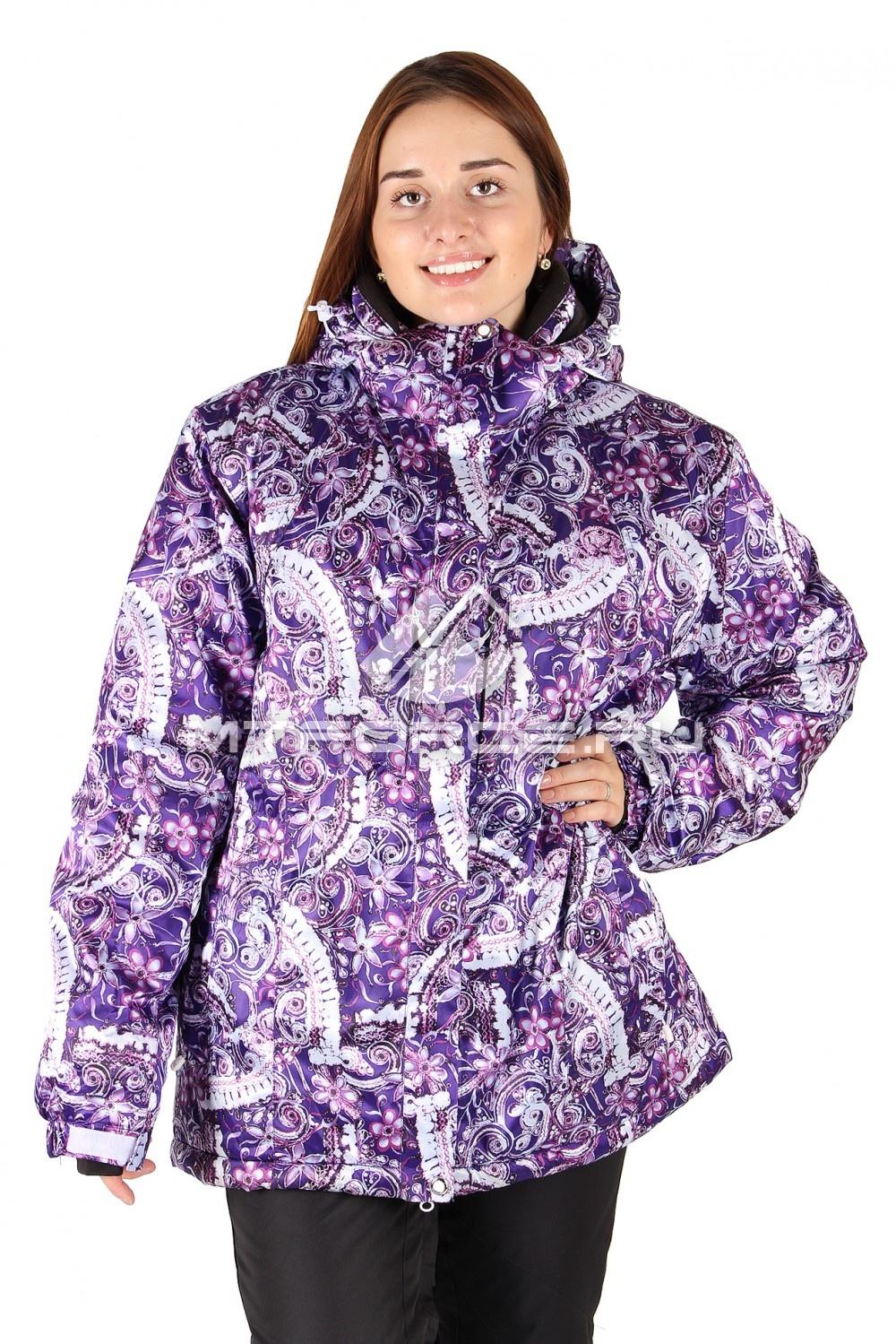 Купить                                  оптом Куртка горнолыжная женская большого размера фиолетового цвета 14114F