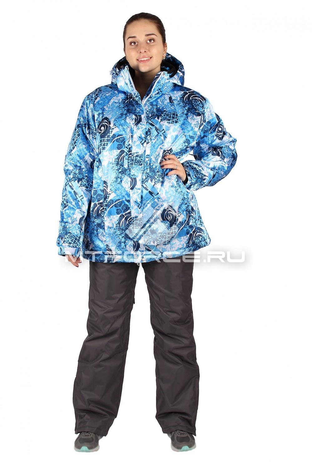 Купить                                  оптом Костюм горнолыжный женский большого размера синего цвета 014114S