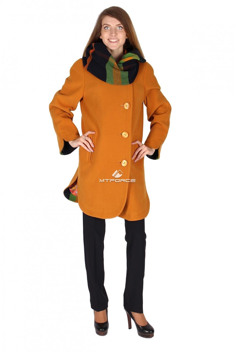 Купить                                  оптом Пальто женское горчичного цвета 14142G в Новосибирске