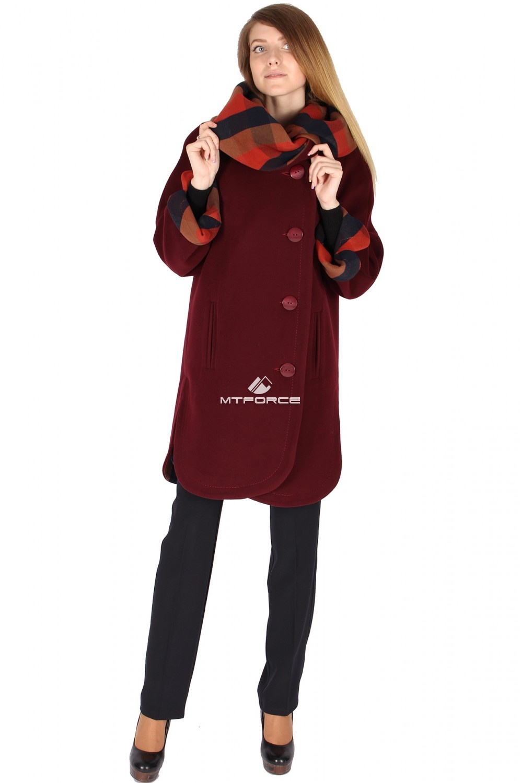 Купить оптом Пальто женское темно-бордового цвета 14142TB