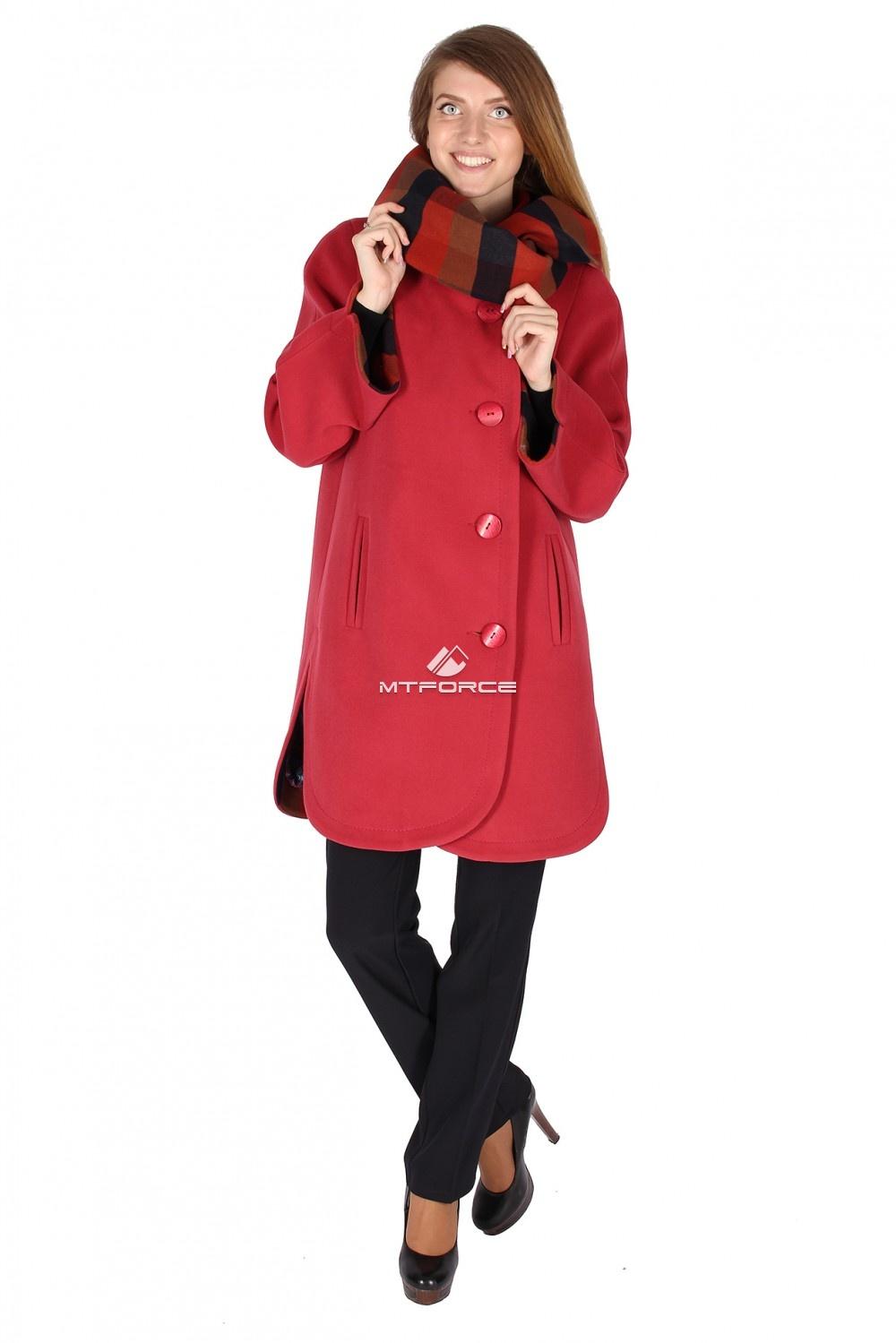 Купить оптом Пальто женское красного цвета 14142Кr