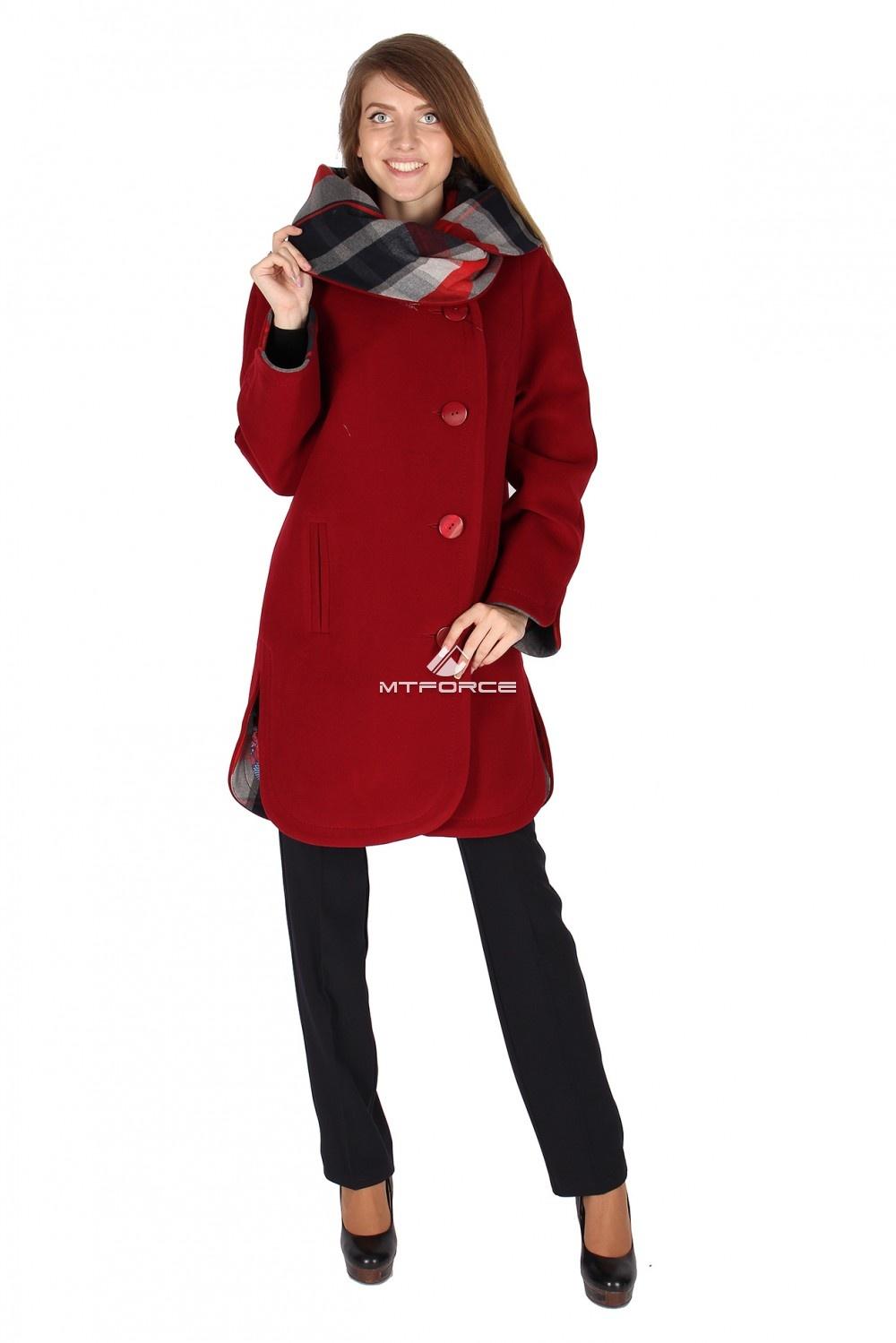 Купить                                  оптом Пальто женское бордового цвета 14142Bo в Новосибирске