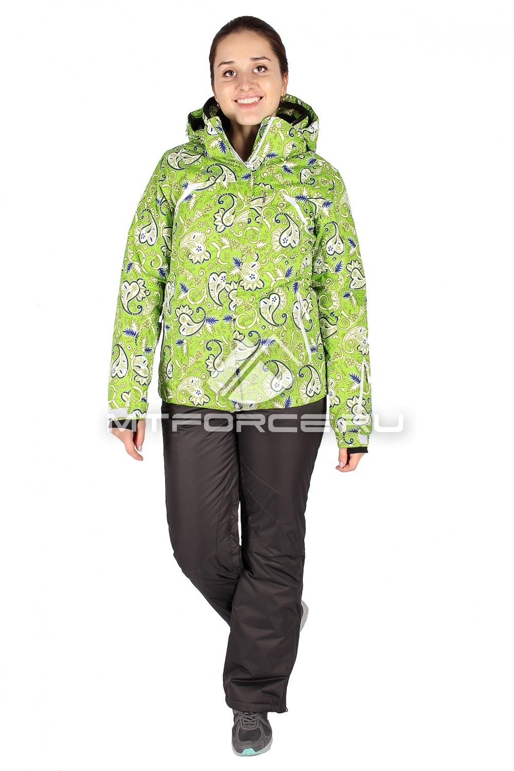 Купить                                  оптом Костюм горнолыжный женский зеленого цвета 01433Z