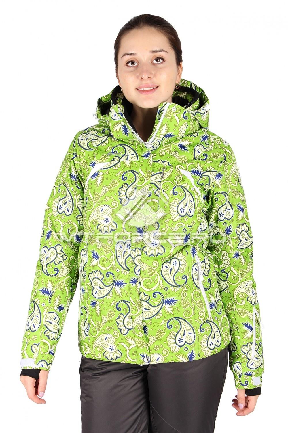 Купить                                  оптом Куртка горнолыжная женская зеленого цвета 1433Z