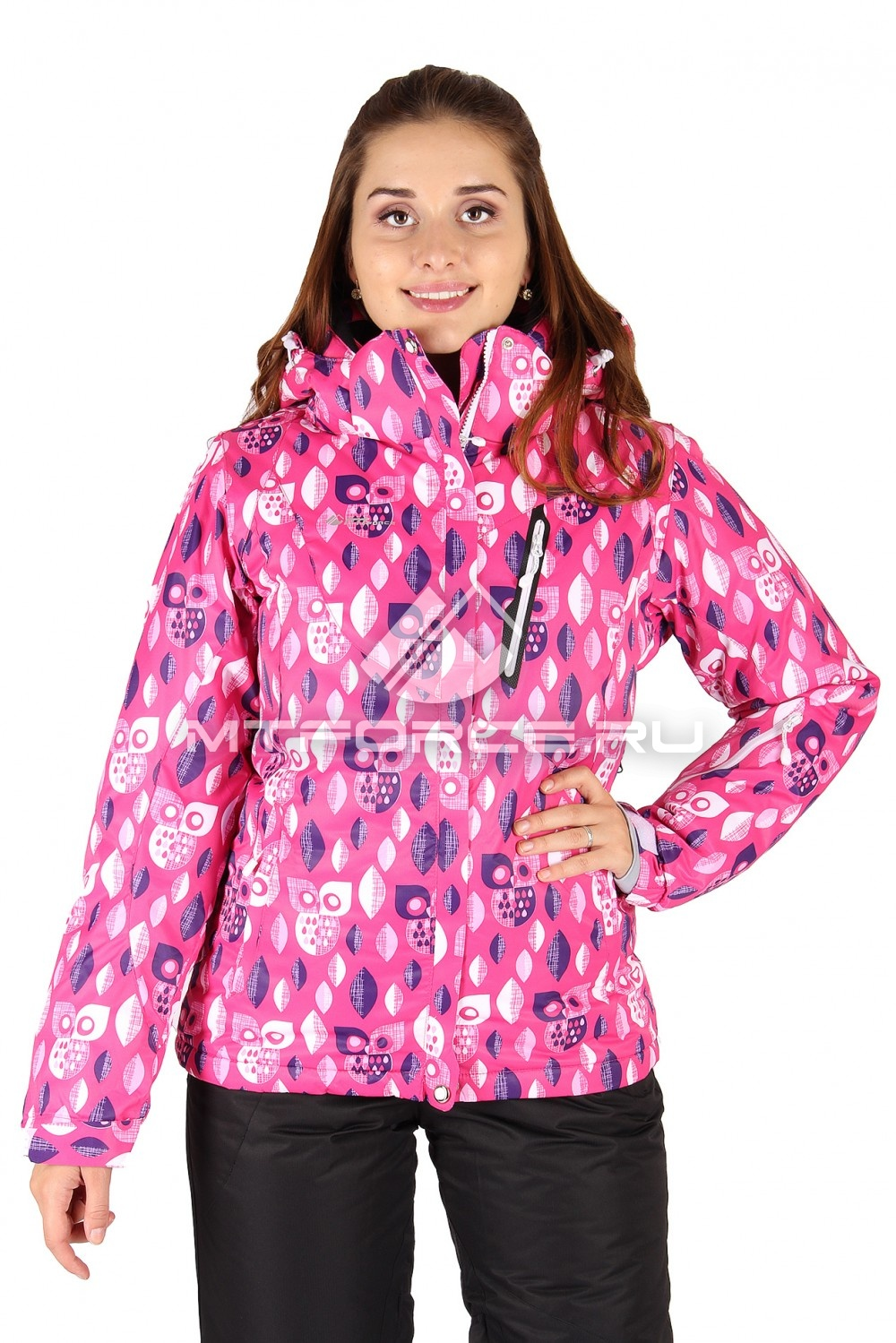 Купить  оптом Куртка горнолыжная женская розового цвета 1435R