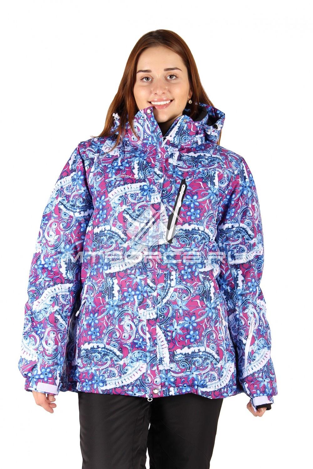 Купить                                  оптом Куртка горнолыжная женская большого размера синего цвета 1436S