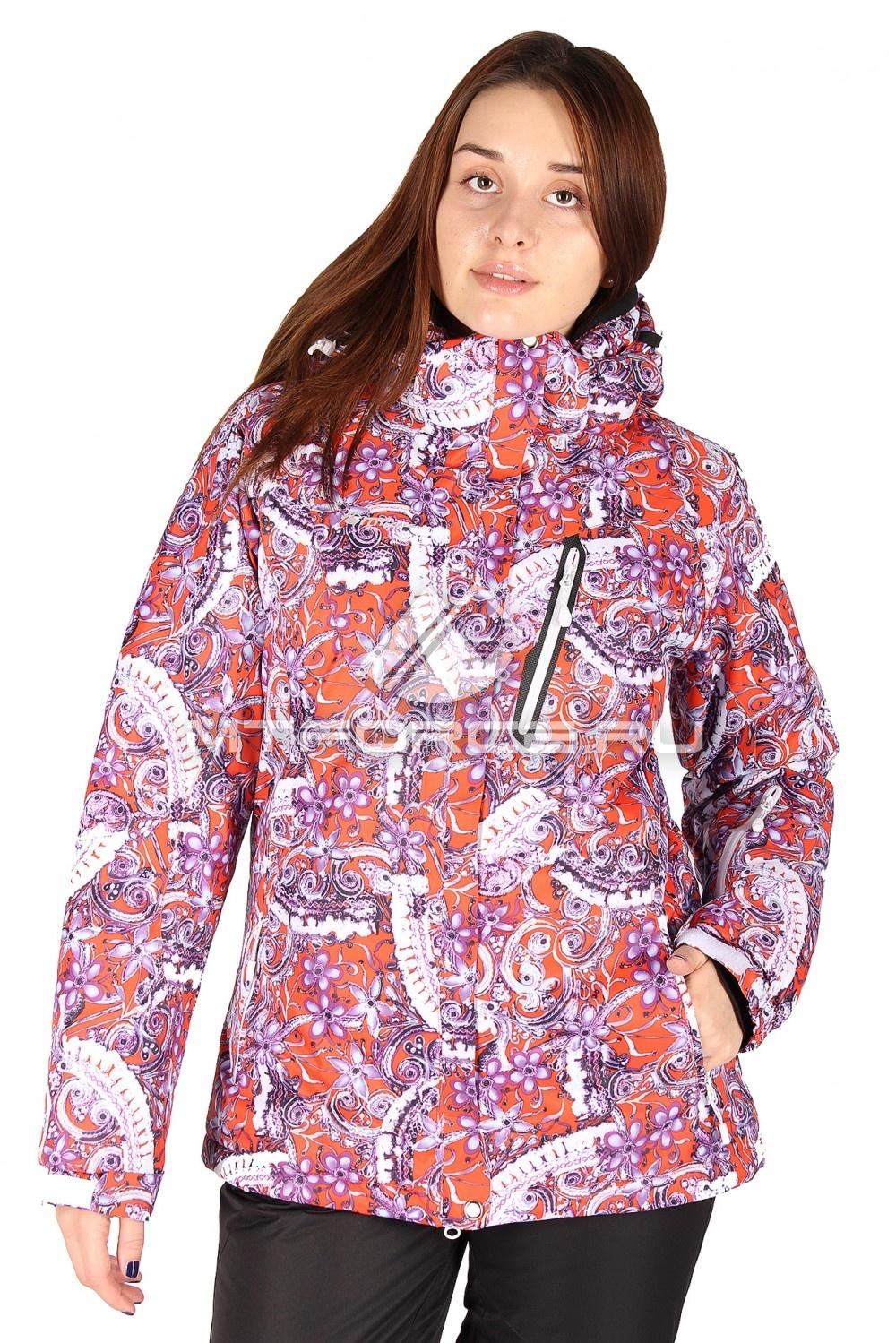Купить оптом Куртка горнолыжная женская большого размера розового цвета 1436R