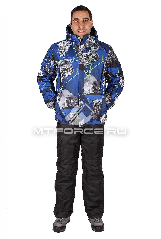 Купить                                  оптом Костюм горнолыжный мужской синего цвета 01437S