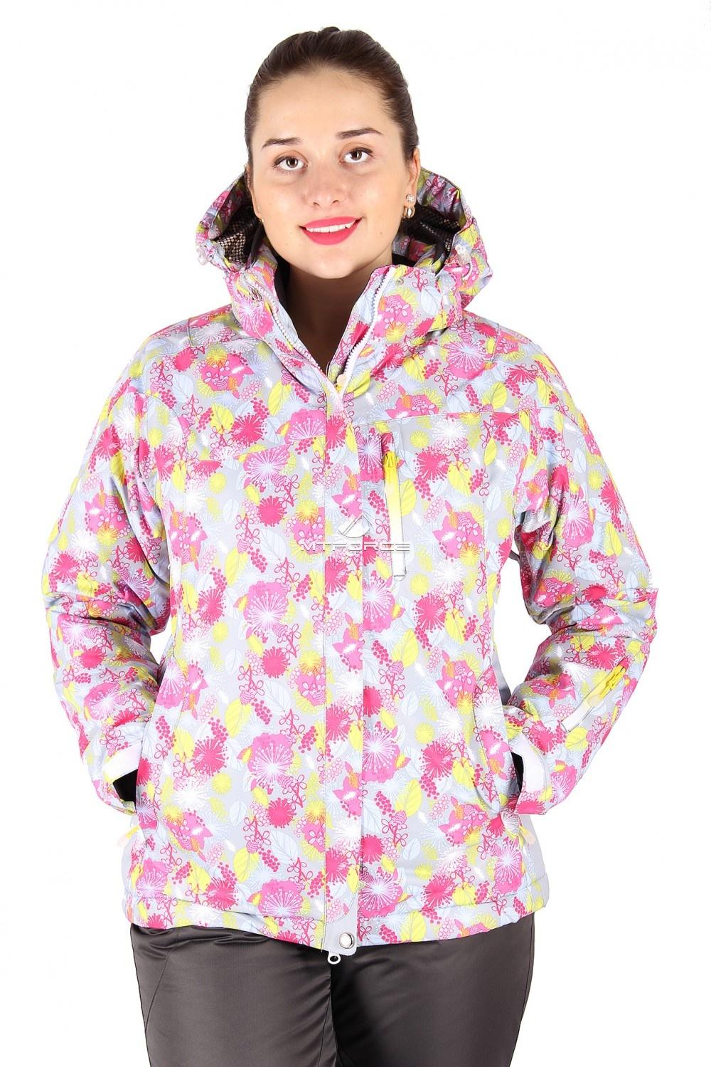 Купить оптом Куртка горнолыжная женская серого цвета 15020Sr