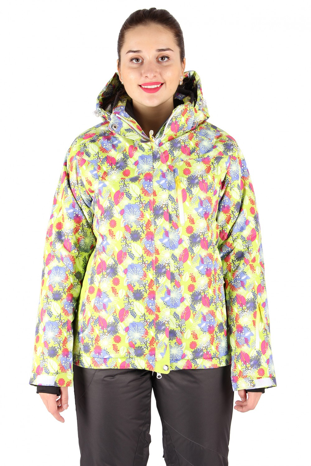 Купить оптом Куртка горнолыжная женская желтого цвета 15020J в Новосибирске