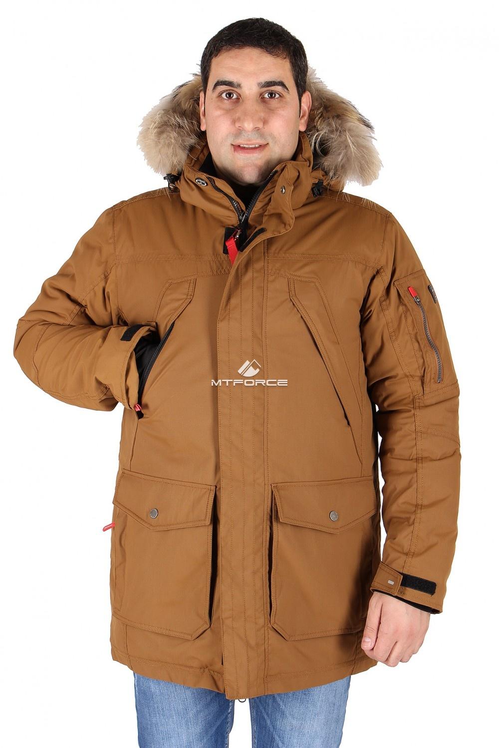 Купить  оптом Куртка классическая зимняя мужская коричневого цвета 15040K