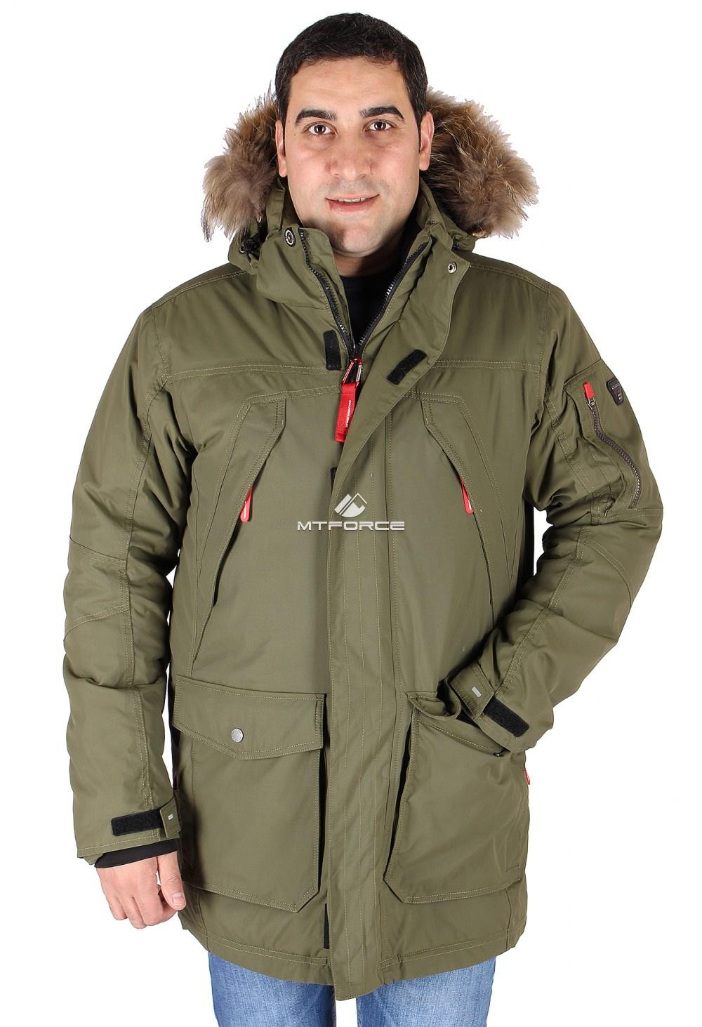 Купить  оптом Куртка классическая зимняя мужская болотного цвета 15040Bt