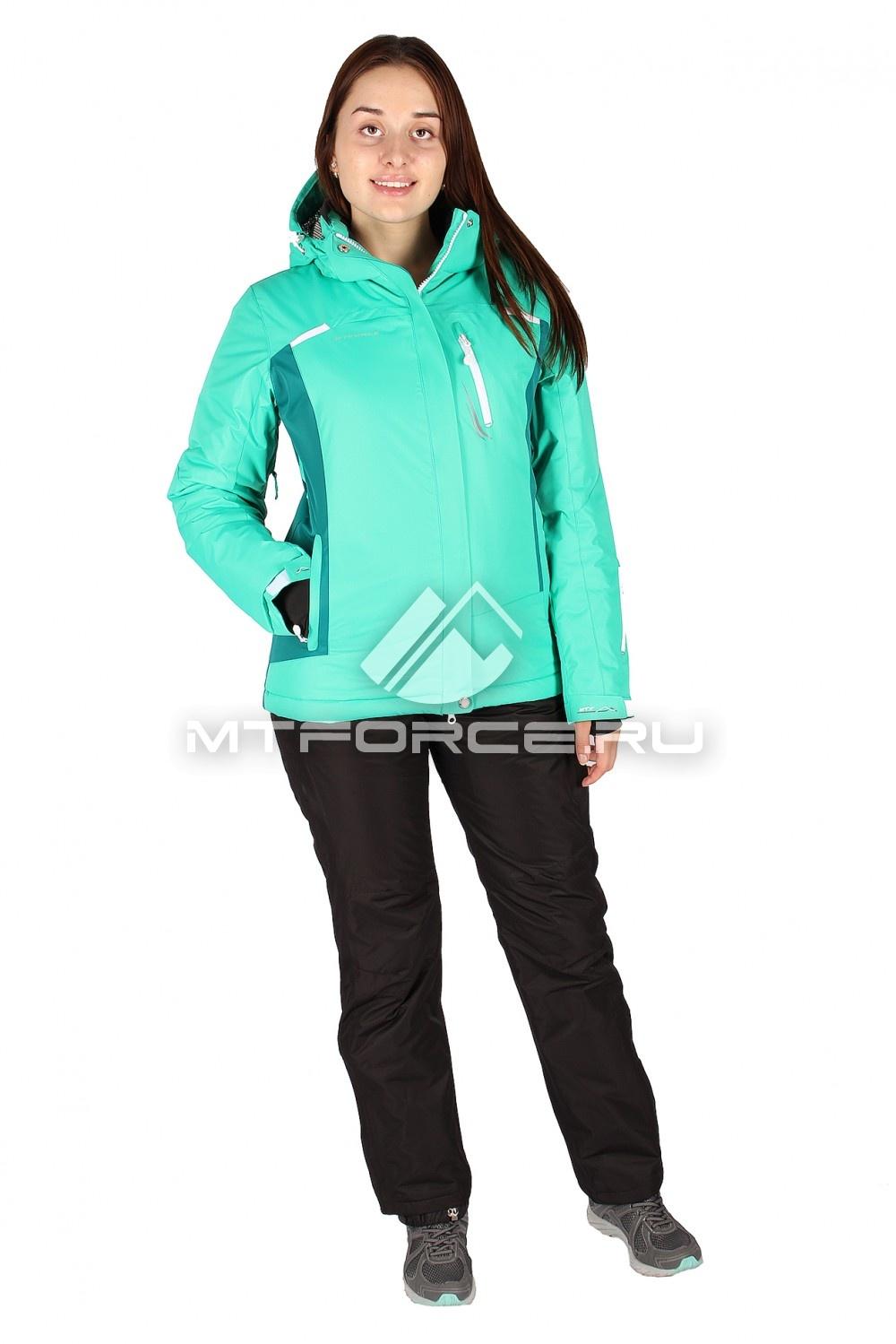 Купить                                  оптом Костюм горнолыжный женский зеленого цвета 01513Z