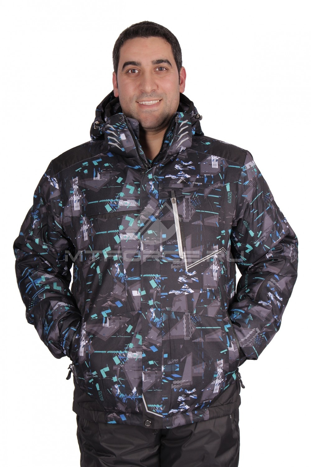 Купить оптом Куртка горнолыжная мужская черного цвета 1509Ch