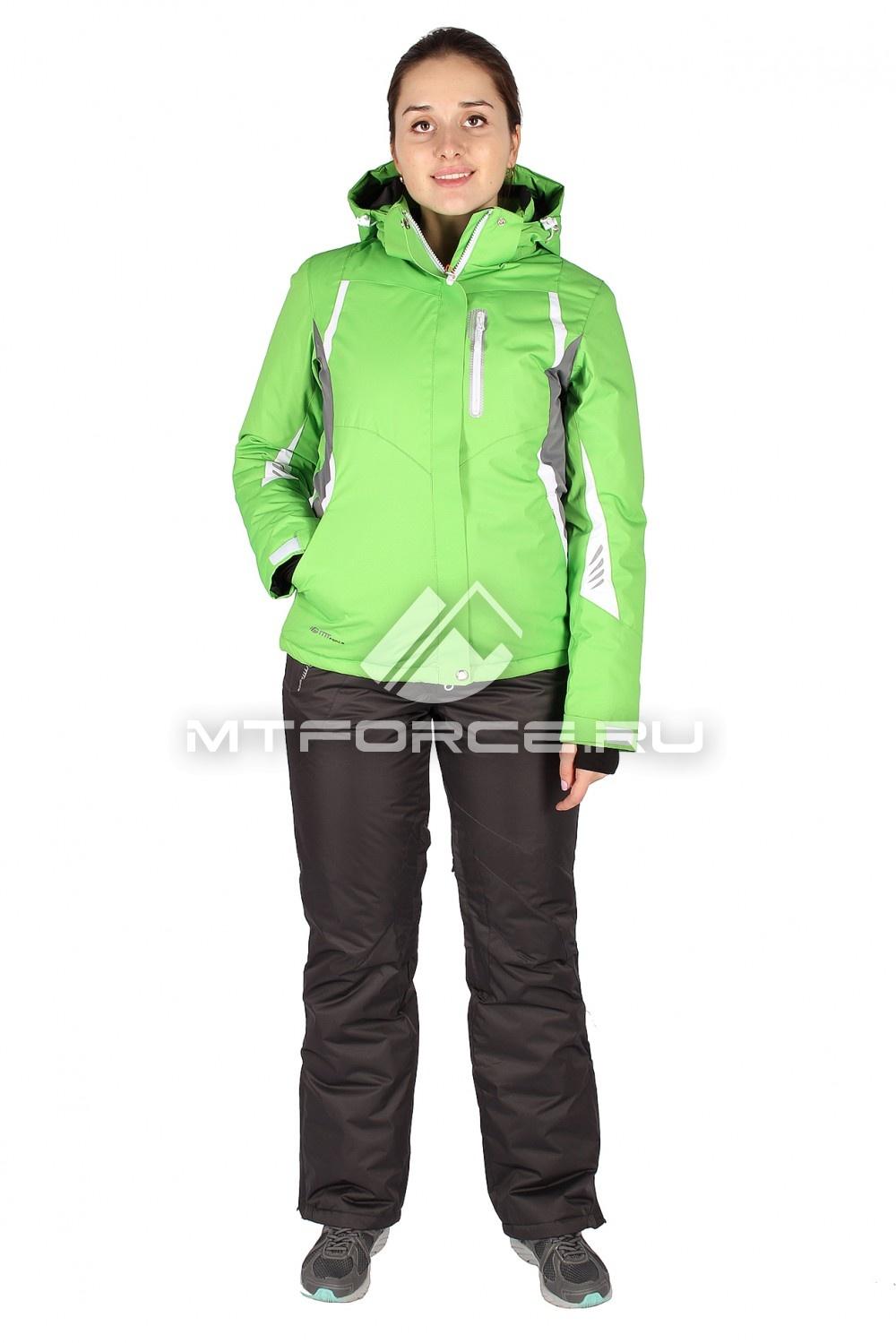 Купить                                  оптом Костюм горнолыжный женский зеленого цвета 01516Z