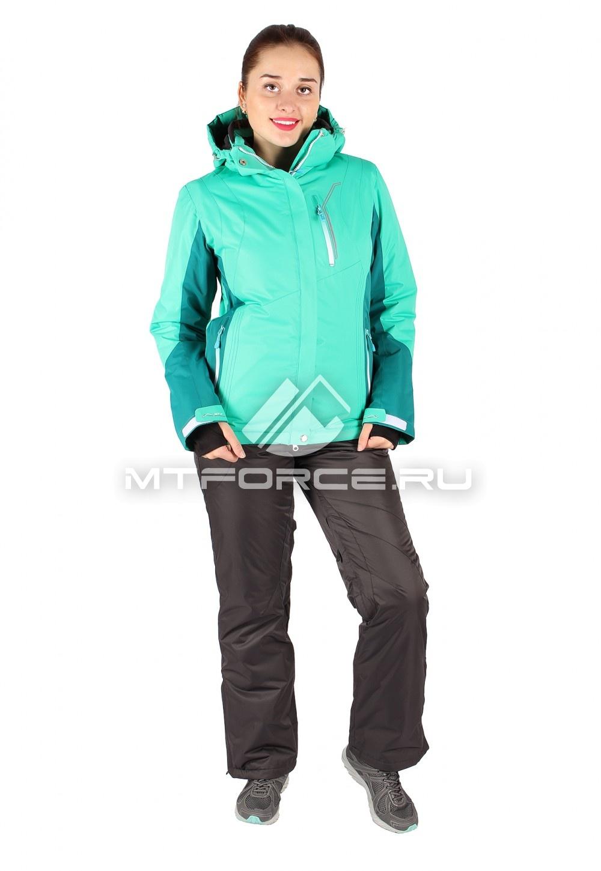 Купить                                  оптом Костюм горнолыжный женский зеленого цвета 01517Z