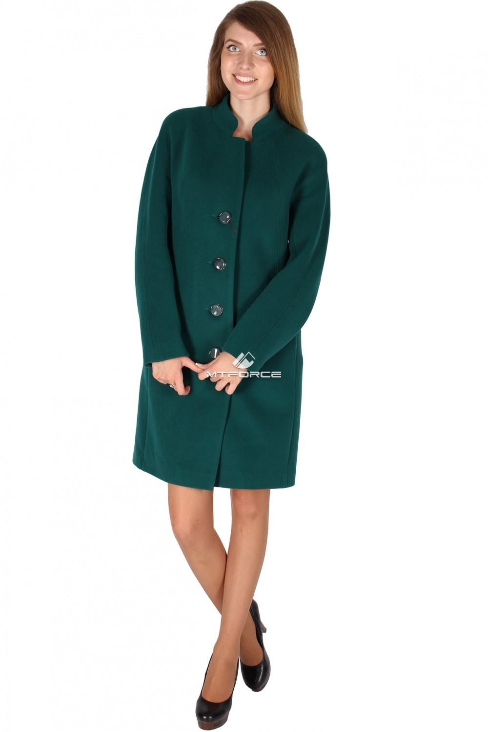 Купить оптом Пальто женское темно-зеленого цвета 15193TZ в Новосибирске