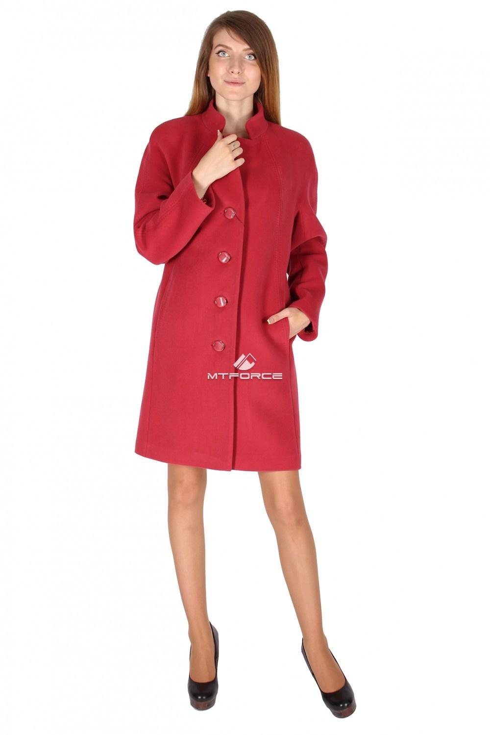 Купить оптом Пальто женское бордового цвета 15193Bo