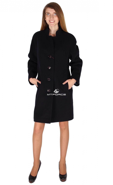 Купить                                  оптом Пальто женское темно-синего цвета 15193TS в Санкт-Петербурге