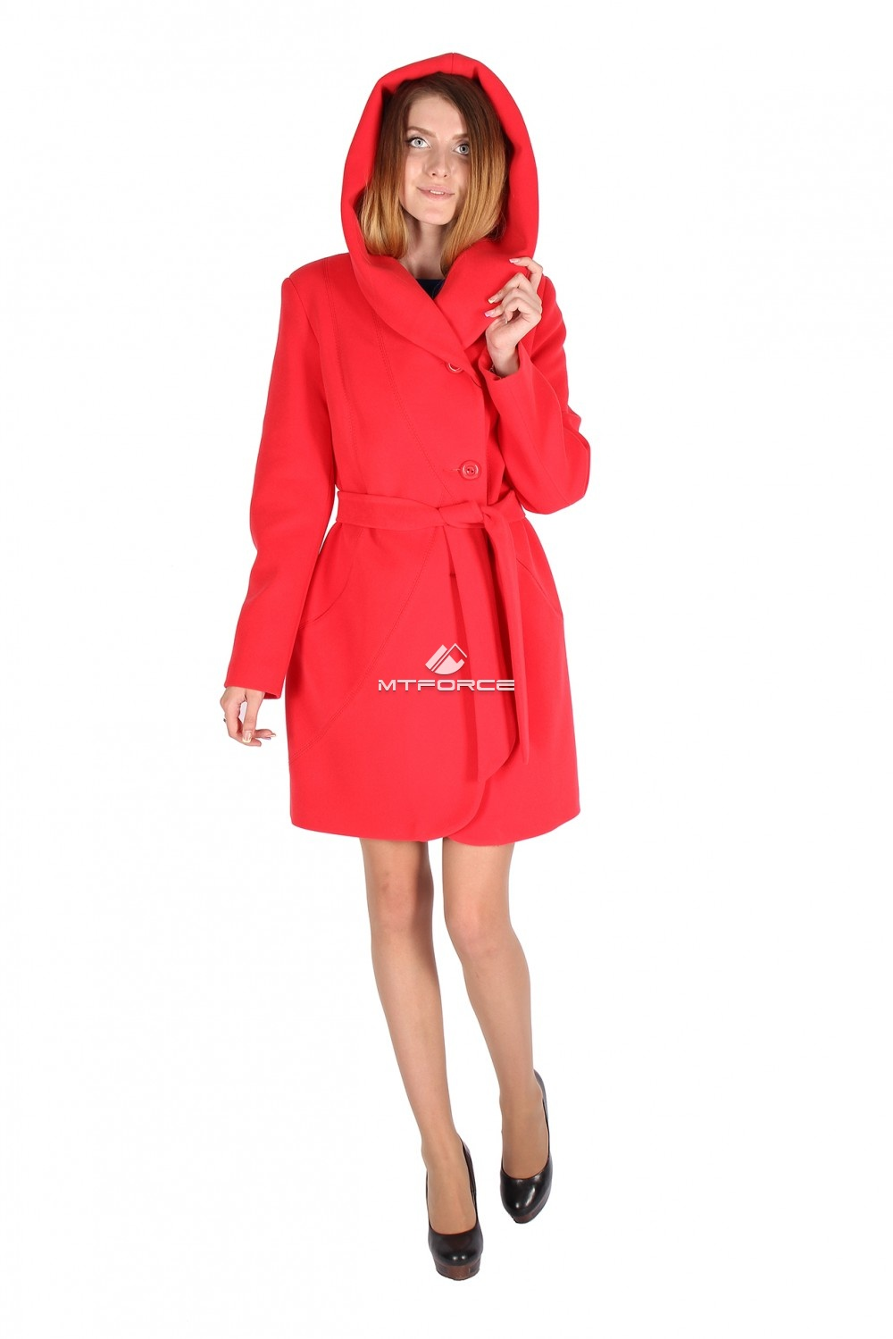Купить оптом Пальто женское красного цвета 15224Kr в Санкт-Петербурге