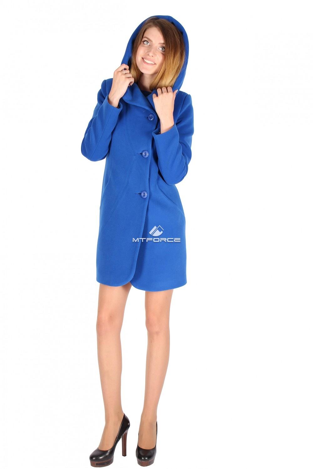 Купить оптом Пальто женское синего цвета 15224S в Санкт-Петербурге