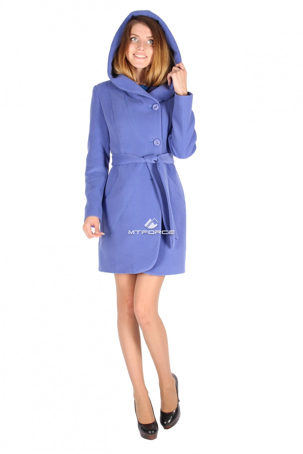 Купить                                  оптом Пальто женское голубого цвета 15224Gl в Новосибирске