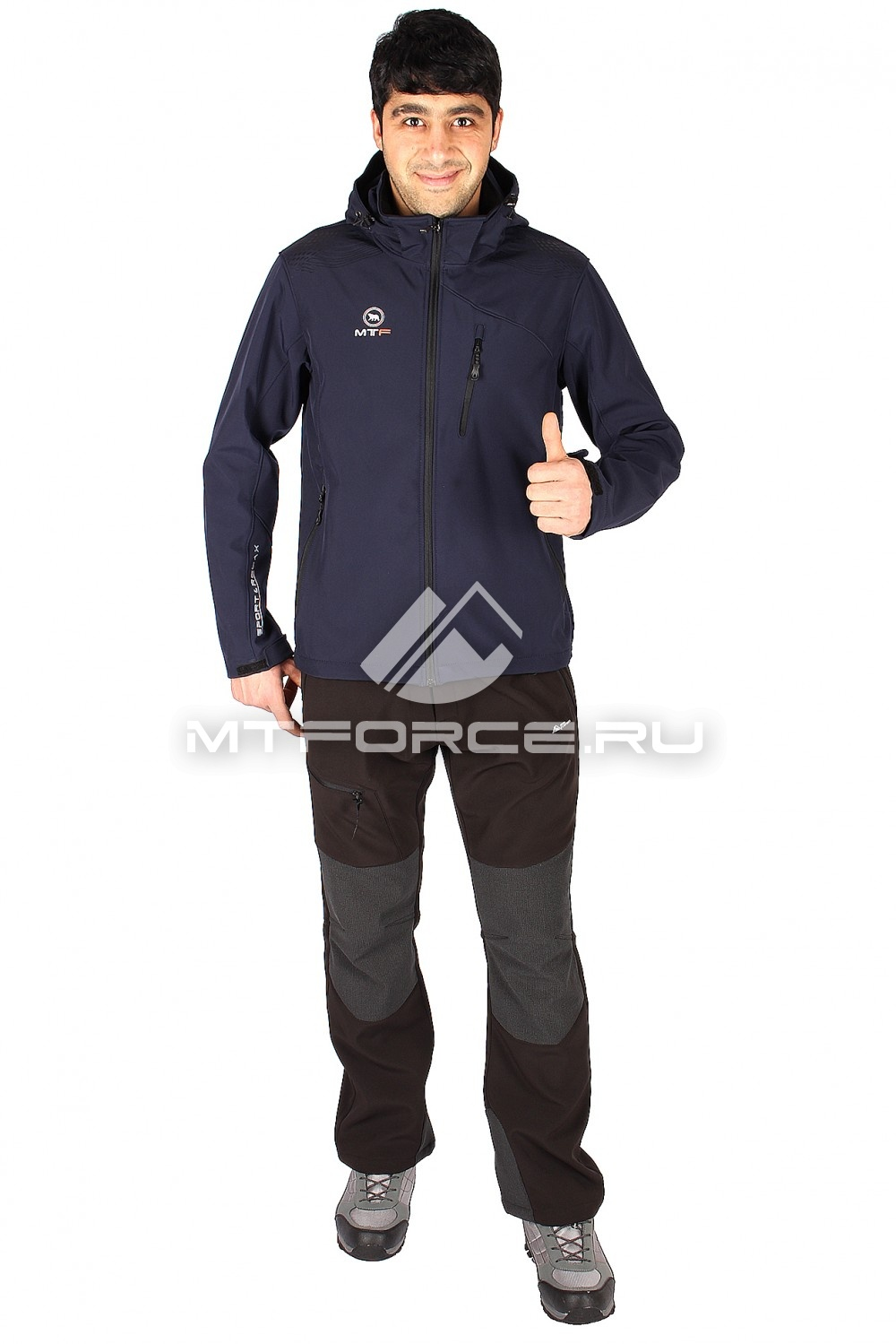 Купить оптом Костюм виндстопер мужской темно-синего цвета  01523TS