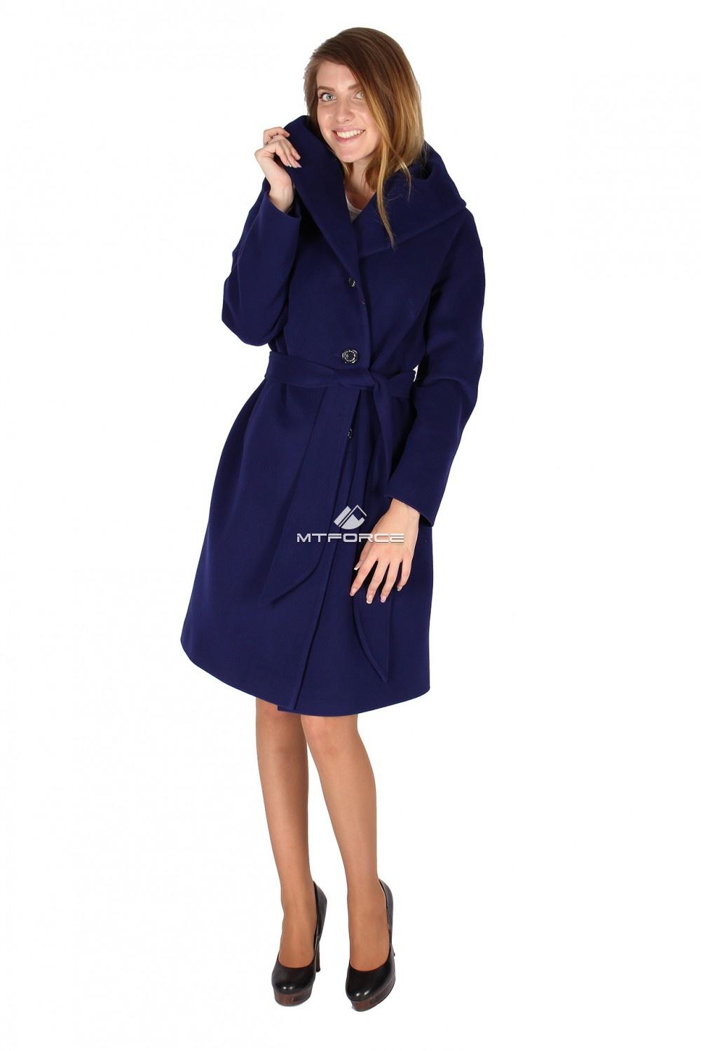 Купить оптом Пальто женское темно-синего цвета 15249TS в Новосибирске
