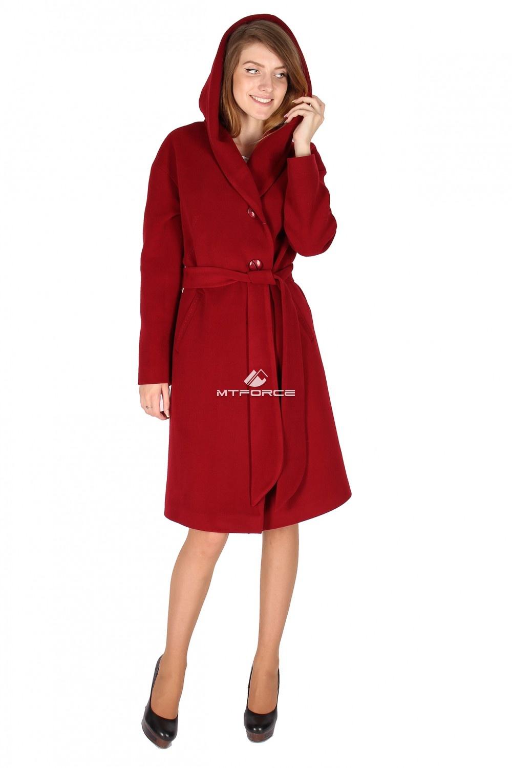 Купить                                  оптом Пальто женское бордового цвета 15249Bo в Санкт-Петербурге