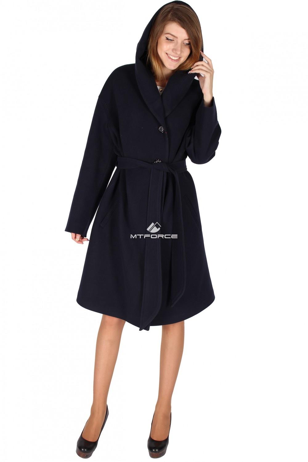 Купить                                  оптом Пальто женское темно-синего цвета 15249TS-1