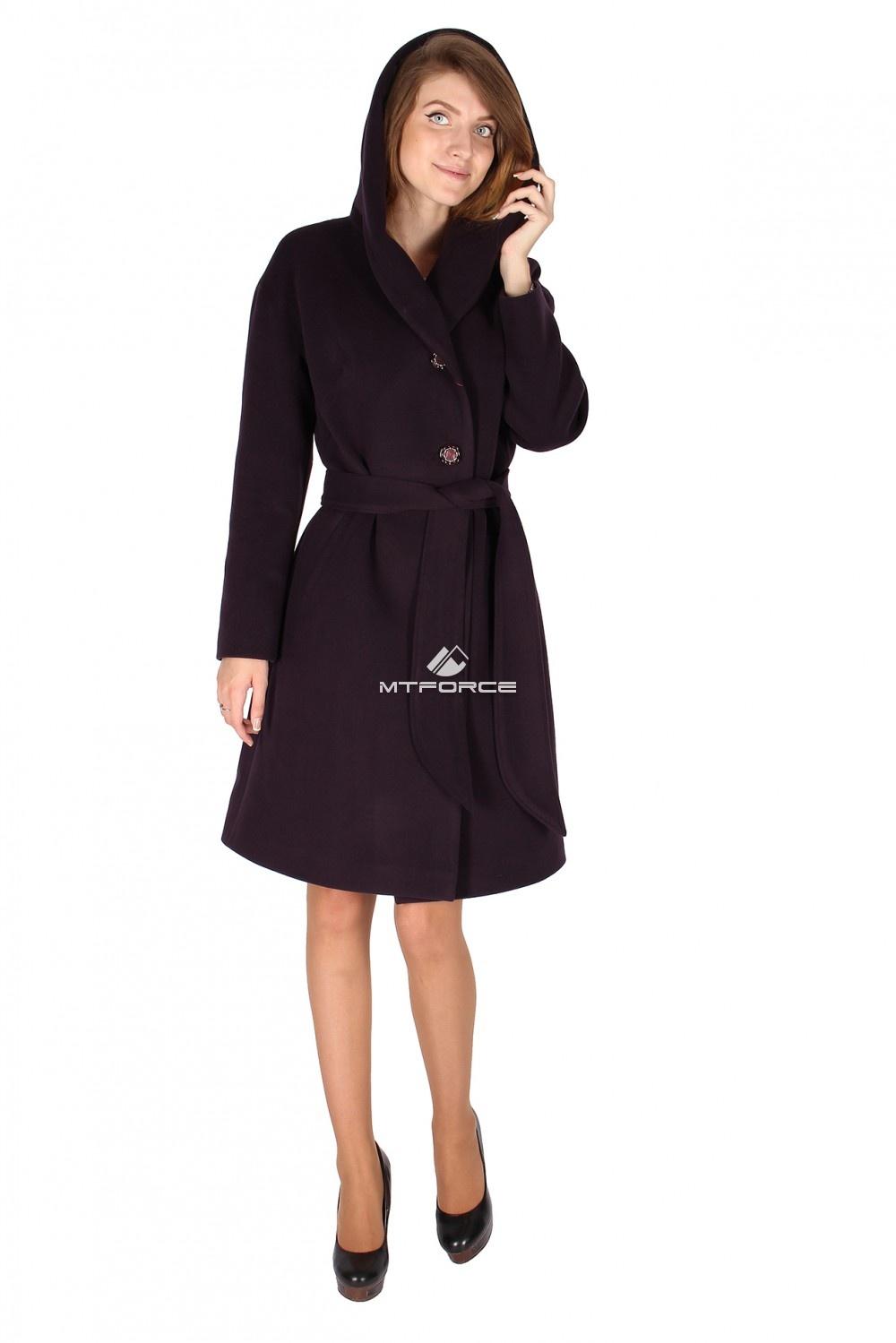 Купить оптом Пальто женское темно-фиолетового цвета 15249TF в Новосибирске