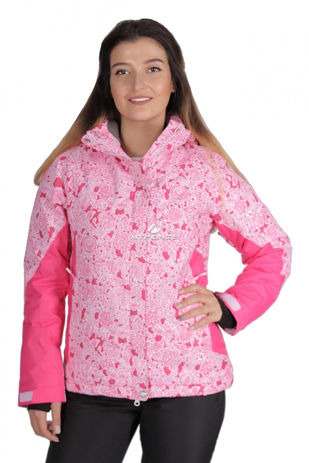 Купить оптом Куртка горнолыжная женская розового цвета 1525R в Санкт-Петербурге