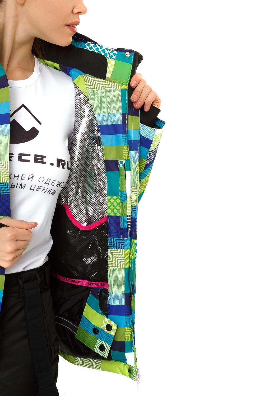 Купить оптом Куртка горнолыжная женская желтого цвета 1784J в Екатеринбурге