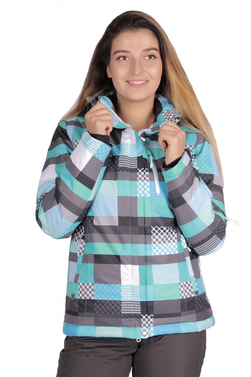 Купить оптом Куртка горнолыжная женская бирюзового цвета 1784Br