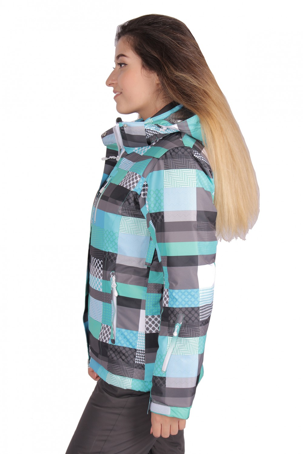 Купить оптом Куртка горнолыжная женская бирюзового цвета 1784Br в Нижнем Новгороде