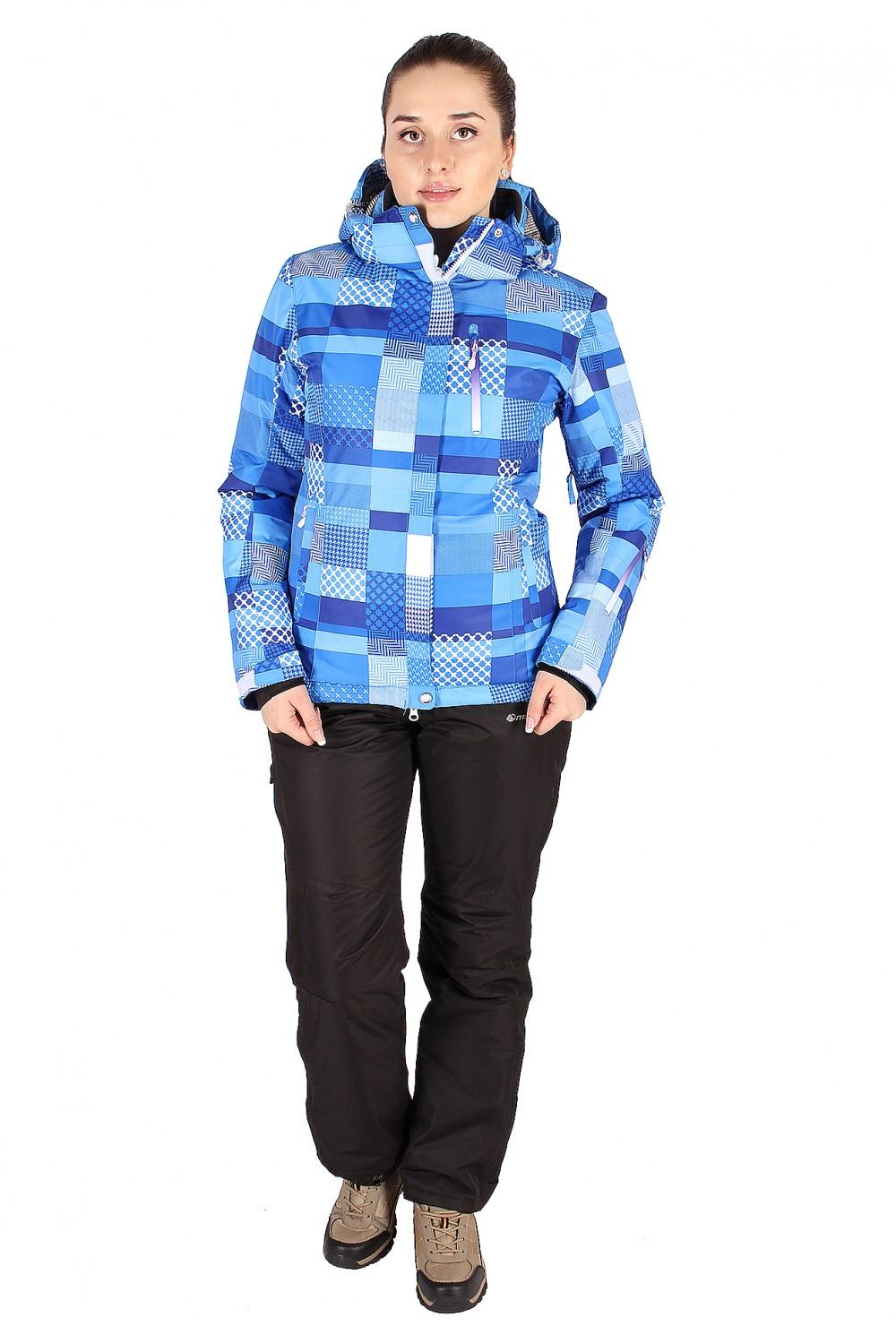 Купить оптом Костюм горнолыжный женский синего цвета 01784S