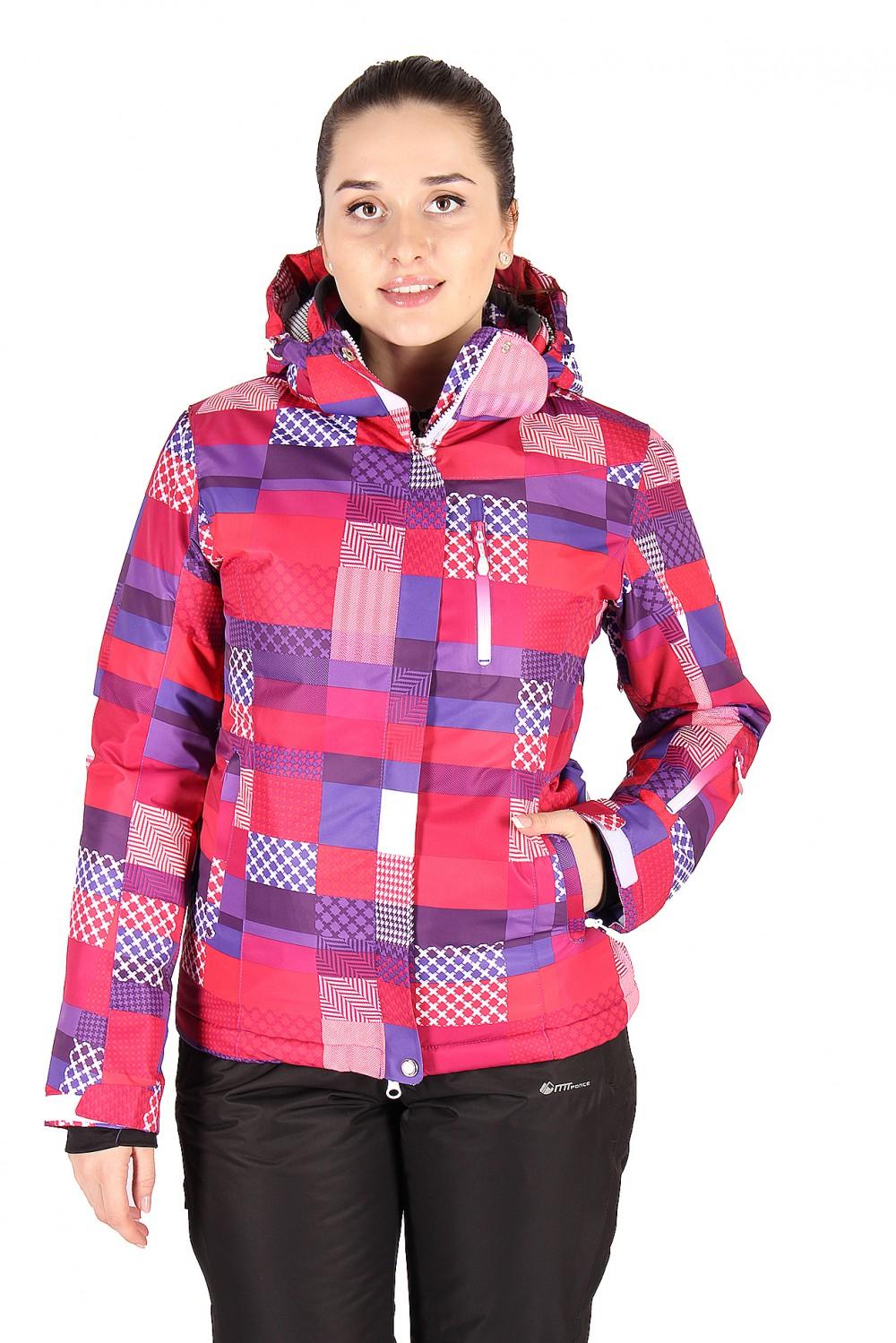Купить оптом Куртка горнолыжная женская розового цвета 1784R