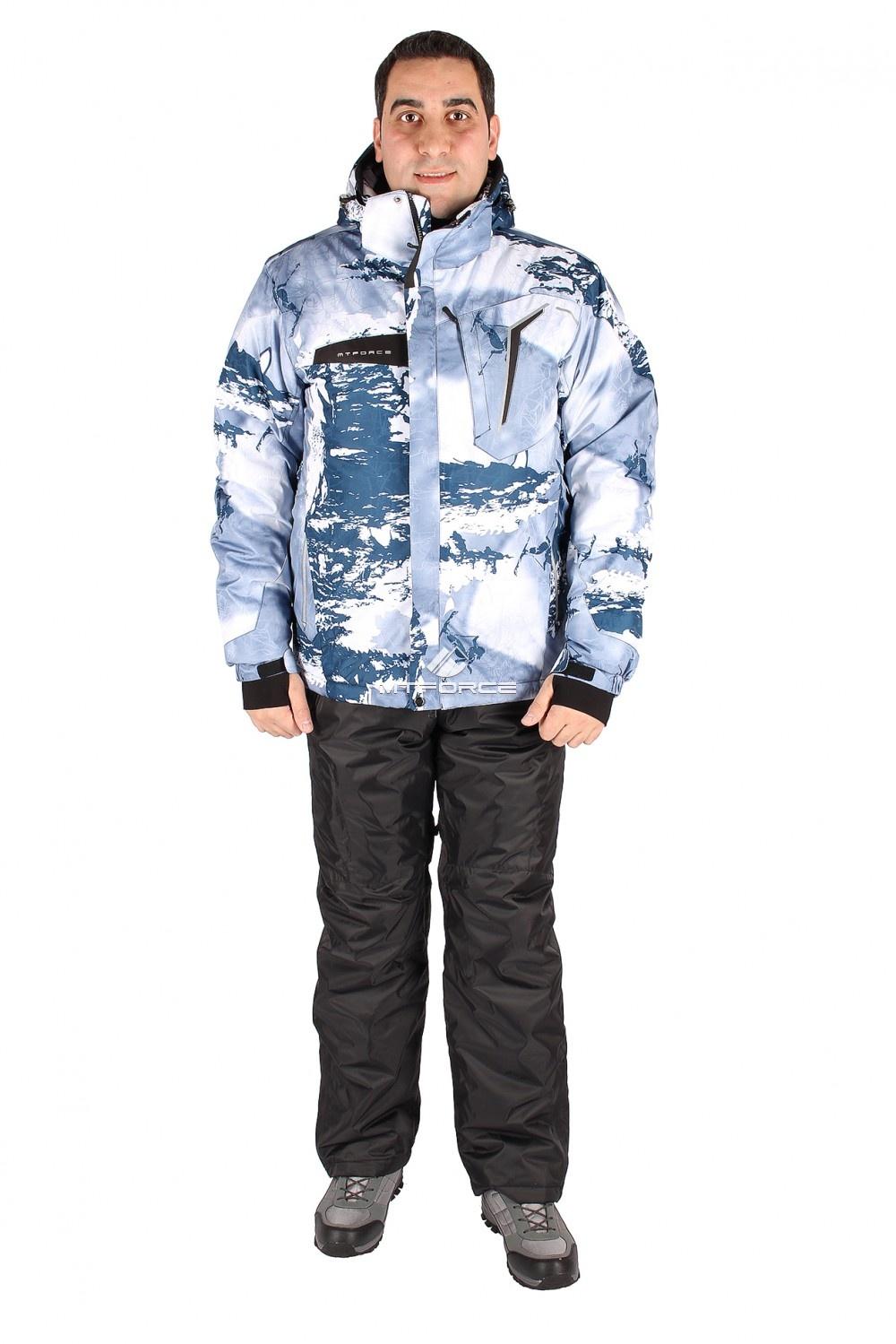 Купить оптом Костюм горнолыжный мужской синего цвета 01550S в Новосибирске