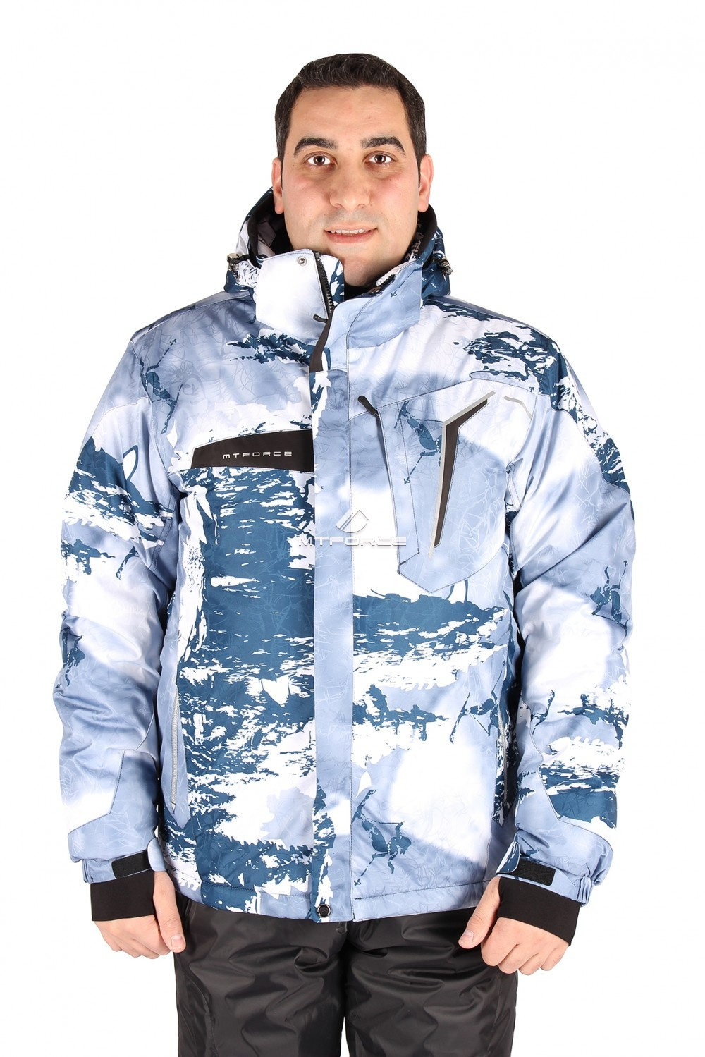 Купить оптом Куртка горнолыжная мужская синего цвета 1550S в Новосибирске