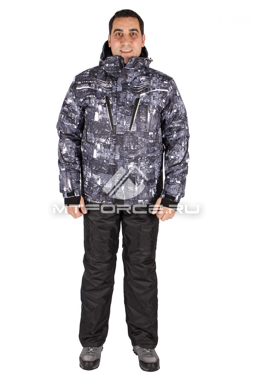 Купить оптом Костюм горнолыжный мужской серого цвета 01551Sr