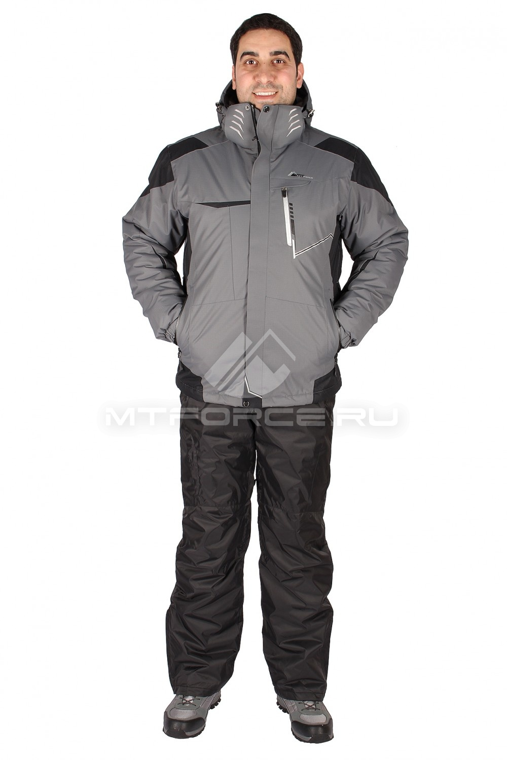 Купить  оптом Костюм горнолыжный мужской серого цвета 01553Sr