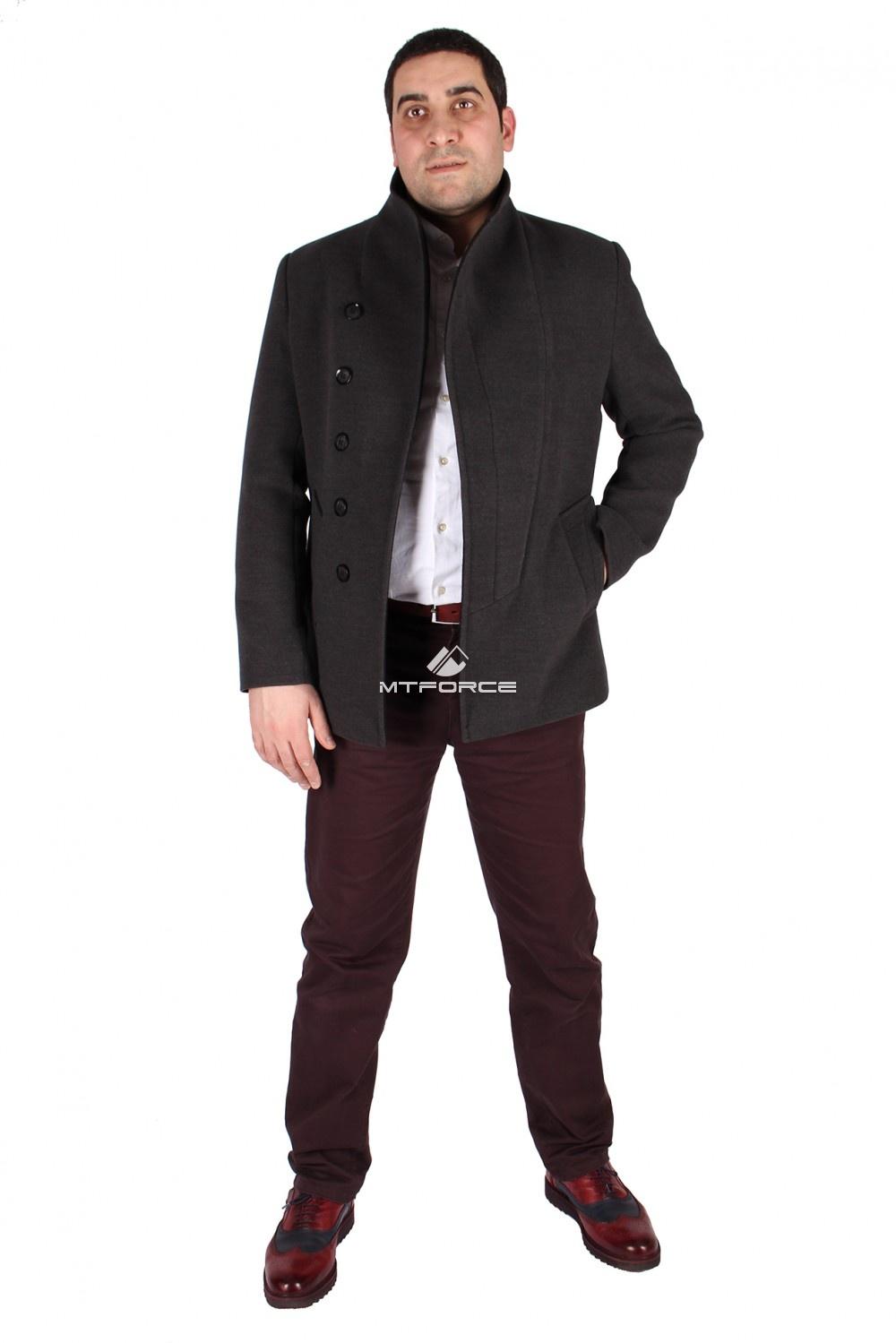 Купить                                  оптом Полупальто мужское серого цвета 1573Sr