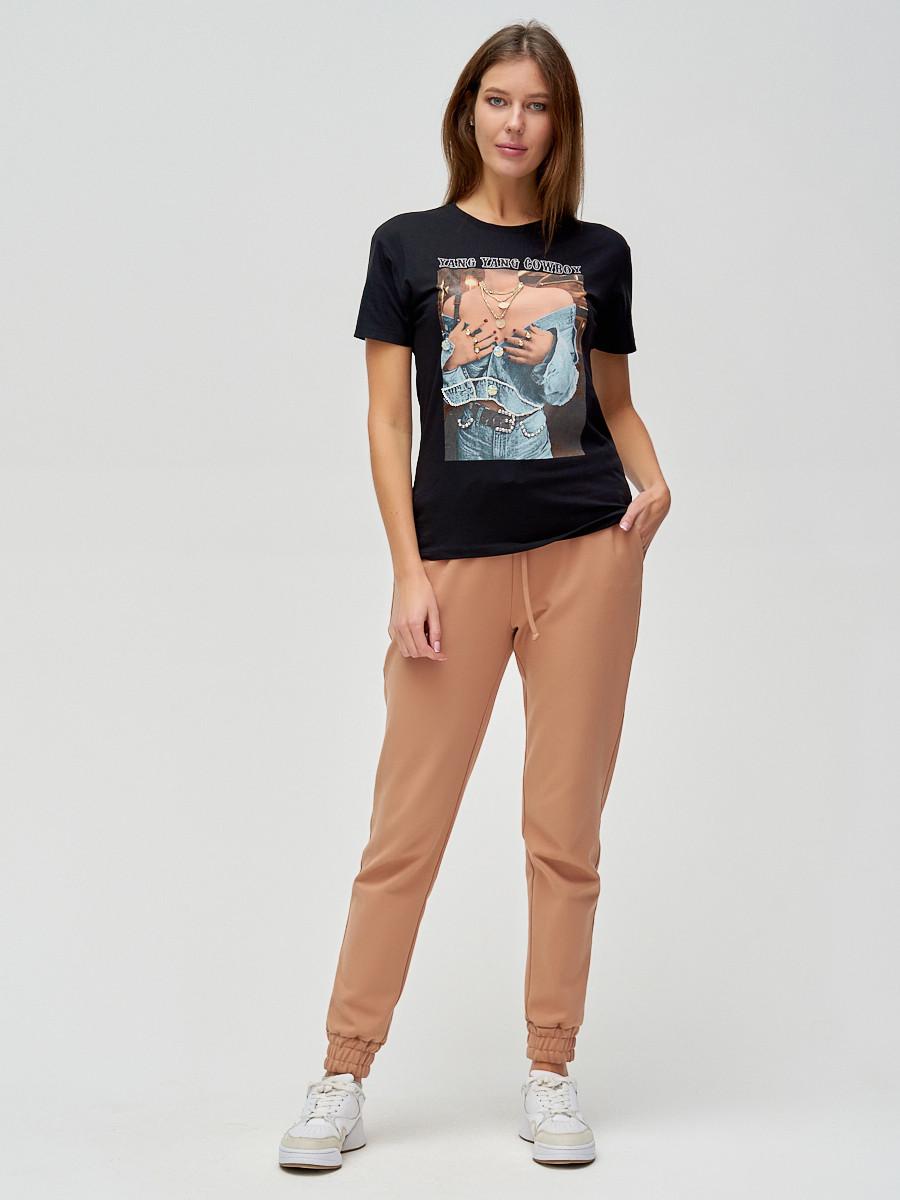 Купить оптом Женские футболки с принтом черного цвета 1601Ch в Екатеринбурге