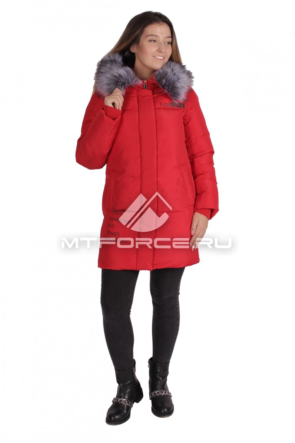 Купить                                  оптом Пуховик ТРЕНД женский зимний красного цвета 16031Kr в Новосибирске