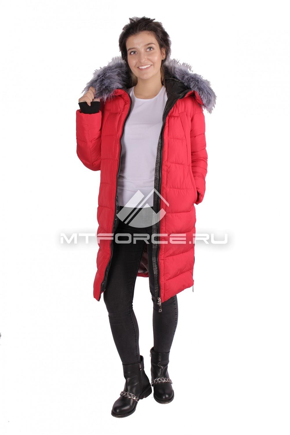 Купить                                  оптом Пуховик ТРЕНД женский зимний красного цвета 16053Kr в Санкт-Петербурге
