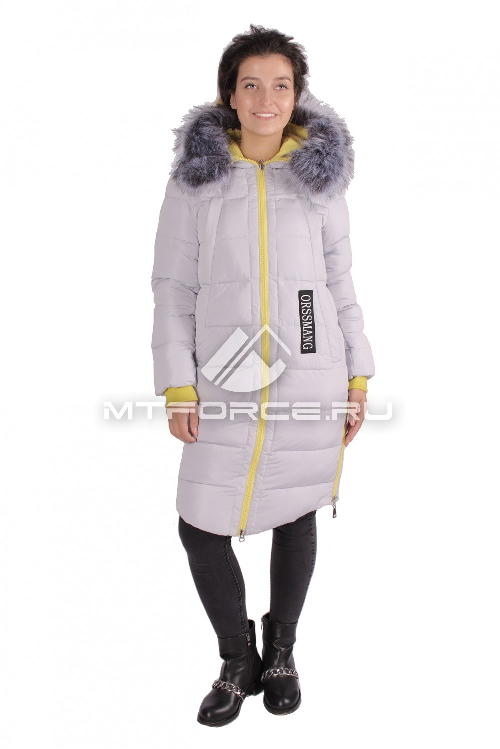 Купить оптом Пуховик ТРЕНД женский зимний серого цвета 16053Sr