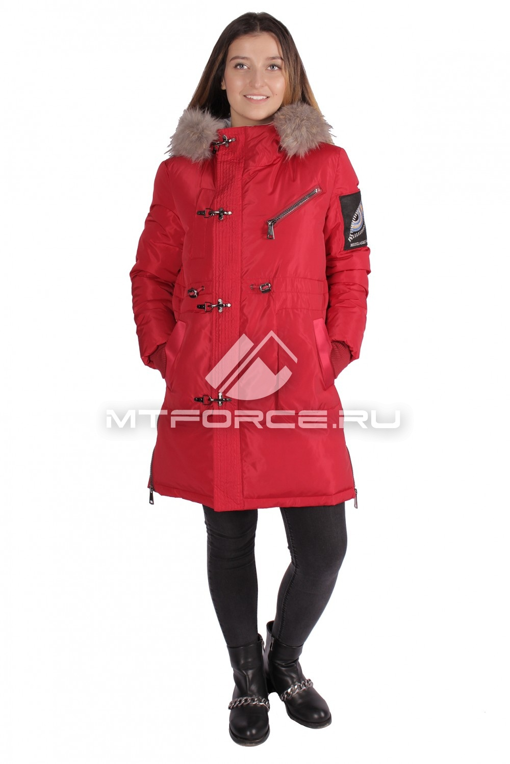 Купить                                  оптом Куртка парка женская зимняя ПИСК сезона красного цвета 16059Kr в Новосибирске