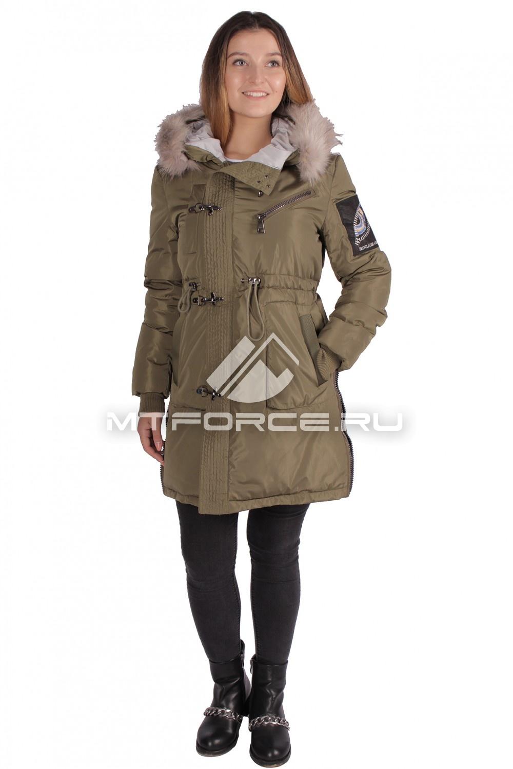 Купить                                  оптом Куртка парка женская зимняя ПИСК сезона цвета хаки 16059Kh